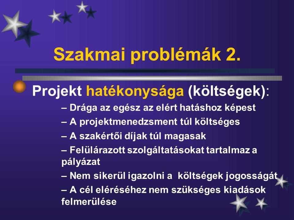 Szakmai problémák 2. Projekt hatékonysága (költségek): – Drága az egész az elért hatáshoz képest – A projektmenedzsment túl költséges – A szakértői dí