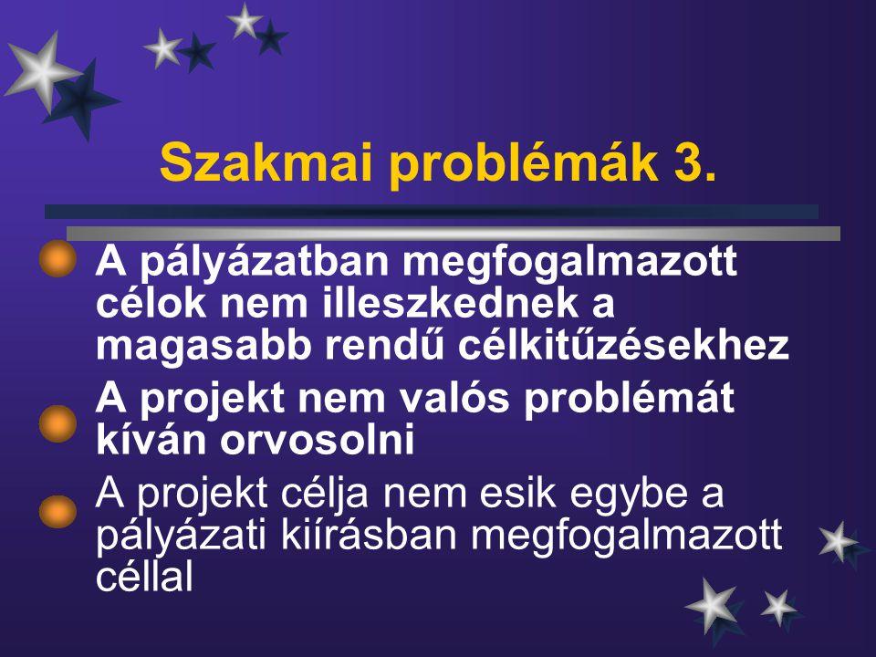 Szakmai problémák 3. A pályázatban megfogalmazott célok nem illeszkednek a magasabb rendű célkitűzésekhez A projekt nem valós problémát kíván orvosoln