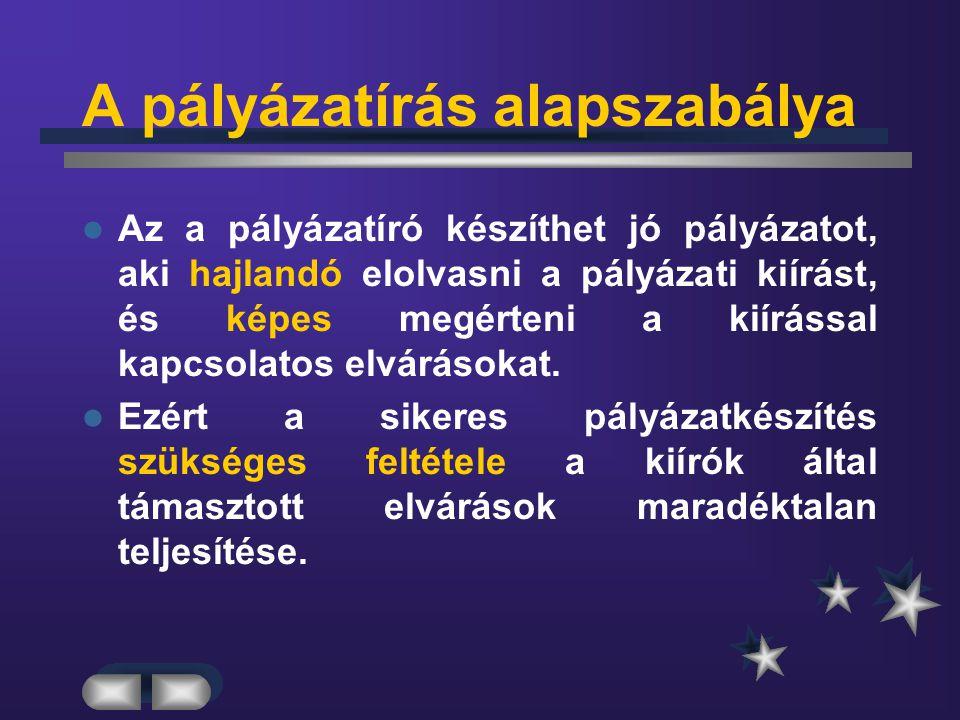 A pályázatok főbb hibái 2.A pályázatot nem az előírt ( pl.