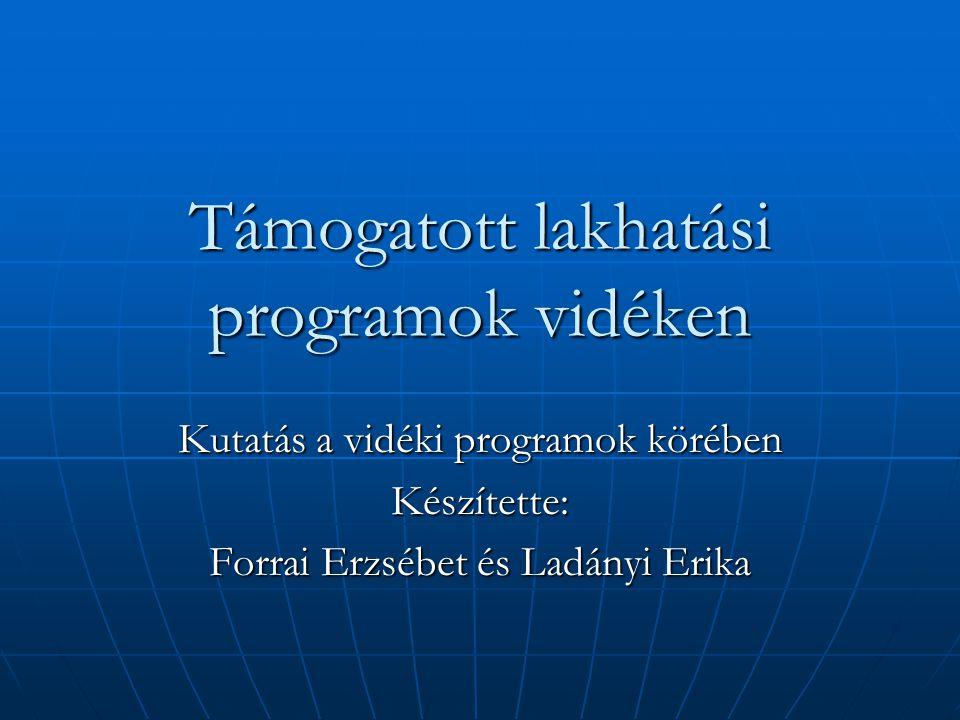 Támogatott lakhatási programok vidéken Kutatás a vidéki programok körében Készítette: Forrai Erzsébet és Ladányi Erika