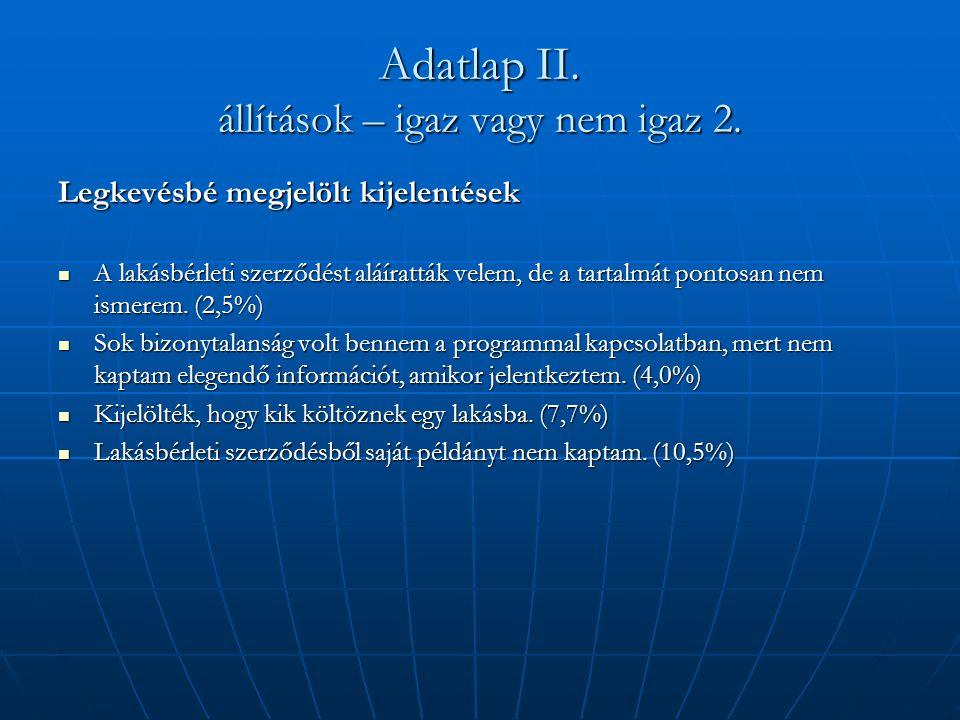 Adatlap II. állítások – igaz vagy nem igaz 2.