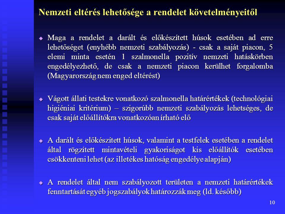 10 Nemzeti eltérés lehetősége a rendelet követelményeitől  Maga a rendelet a darált és előkészített húsok esetében ad erre lehetőséget (enyhébb nemze