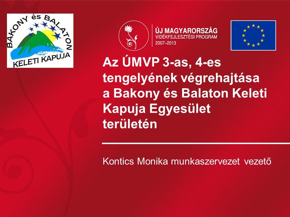 Az ÚMVP 3-as, 4-es tengelyének végrehajtása a Bakony és Balaton Keleti Kapuja Egyesület területén Kontics Monika munkaszervezet vezető
