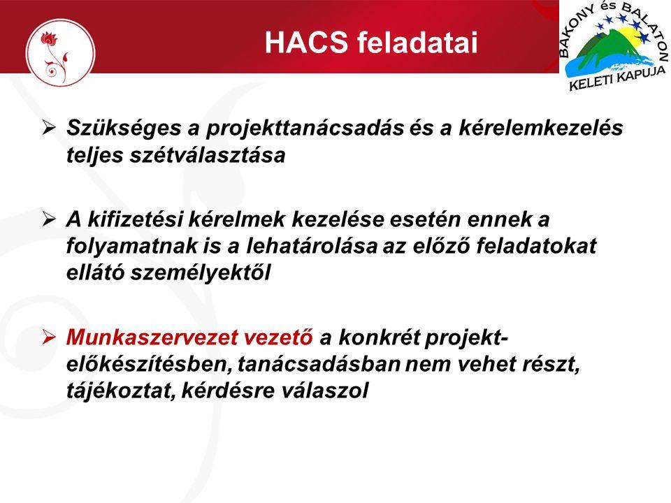 HACS feladatai  Szükséges a projekttanácsadás és a kérelemkezelés teljes szétválasztása  A kifizetési kérelmek kezelése esetén ennek a folyamatnak is a lehatárolása az előző feladatokat ellátó személyektől  Munkaszervezet vezető a konkrét projekt- előkészítésben, tanácsadásban nem vehet részt, tájékoztat, kérdésre válaszol