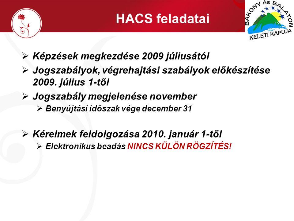 HACS feladatai  Képzések megkezdése 2009 júliusától  Jogszabályok, végrehajtási szabályok előkészítése 2009.