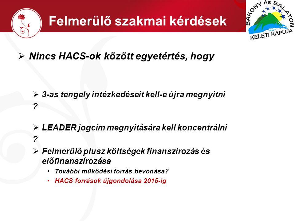 Felmerülő szakmai kérdések  Nincs HACS-ok között egyetértés, hogy  3-as tengely intézkedéseit kell-e újra megnyitni .