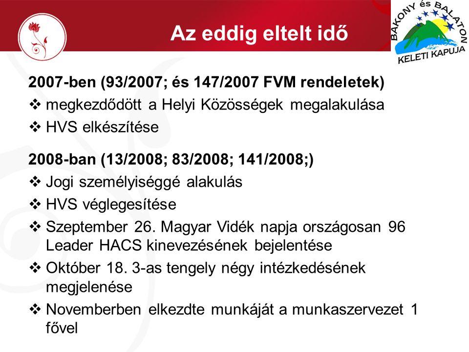 Az eddig eltelt idő 2007-ben (93/2007; és 147/2007 FVM rendeletek)  megkezdődött a Helyi Közösségek megalakulása  HVS elkészítése 2008-ban (13/2008; 83/2008; 141/2008;)  Jogi személyiséggé alakulás  HVS véglegesítése  Szeptember 26.