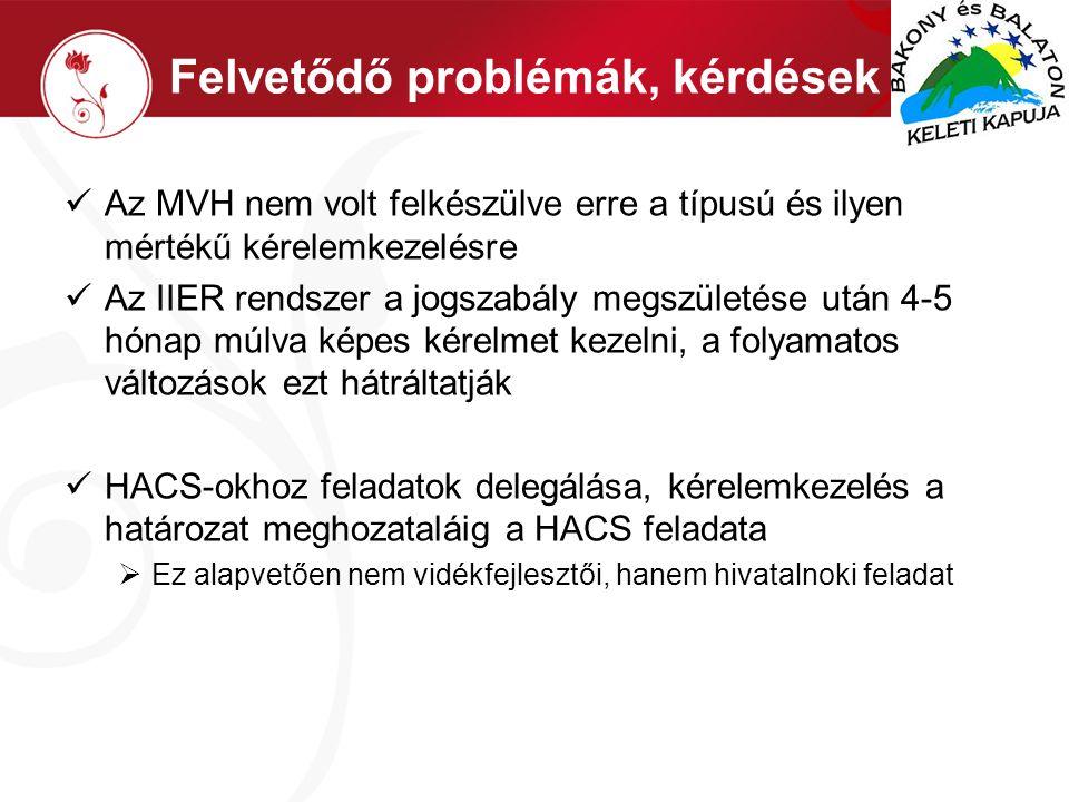 Felvetődő problémák, kérdések  Az MVH nem volt felkészülve erre a típusú és ilyen mértékű kérelemkezelésre  Az IIER rendszer a jogszabály megszületése után 4-5 hónap múlva képes kérelmet kezelni, a folyamatos változások ezt hátráltatják  HACS-okhoz feladatok delegálása, kérelemkezelés a határozat meghozataláig a HACS feladata  Ez alapvetően nem vidékfejlesztői, hanem hivatalnoki feladat