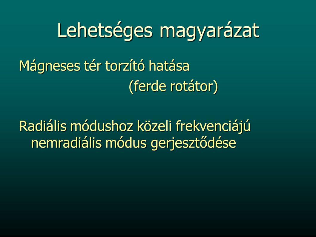 Lehetséges magyarázat Mágneses tér torzító hatása (ferde rotátor) (ferde rotátor) Radiális módushoz közeli frekvenciájú nemradiális módus gerjesztődése