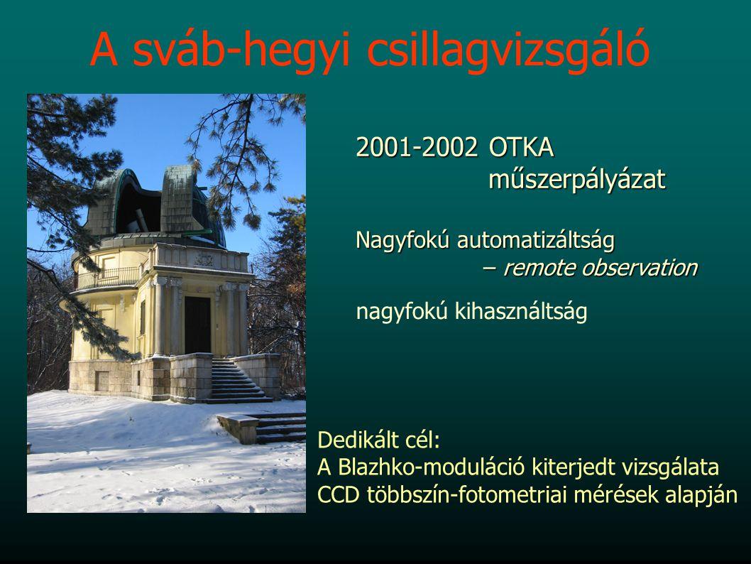 A sváb-hegyi csillagvizsgáló 2001-2002 OTKA műszerpályázat műszerpályázat Nagyfokú automatizáltság – remote observation – remote observation nagyfokú