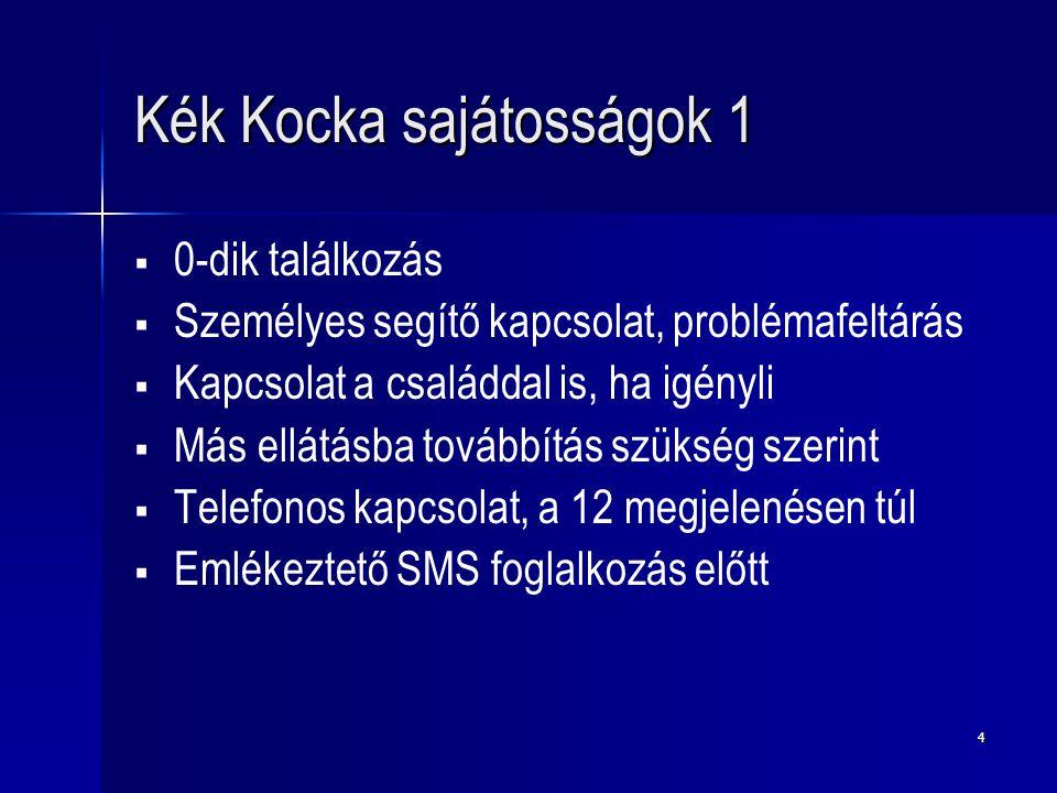 4 Kék Kocka sajátosságok 1   0-dik találkozás   Személyes segítő kapcsolat, problémafeltárás   Kapcsolat a családdal is, ha igényli   Más ellátásba továbbítás szükség szerint   Telefonos kapcsolat, a 12 megjelenésen túl   Emlékeztető SMS foglalkozás előtt