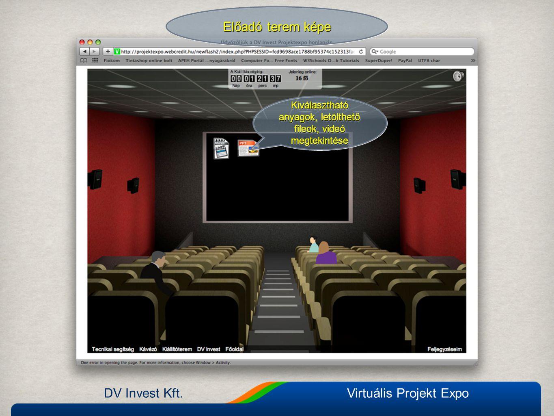 DV Invest Kft.Virtuális Projekt Expo Előadó terem képe Kiválasztható anyagok, letölthető fileok, videó megtekintése Kiválasztható anyagok, letölthető