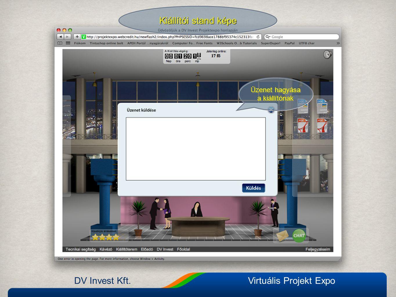 DV Invest Kft.Virtuális Projekt Expo Kiállítói stand képe Üzenet hagyása a kiállítónak Üzenet hagyása a kiállítónak