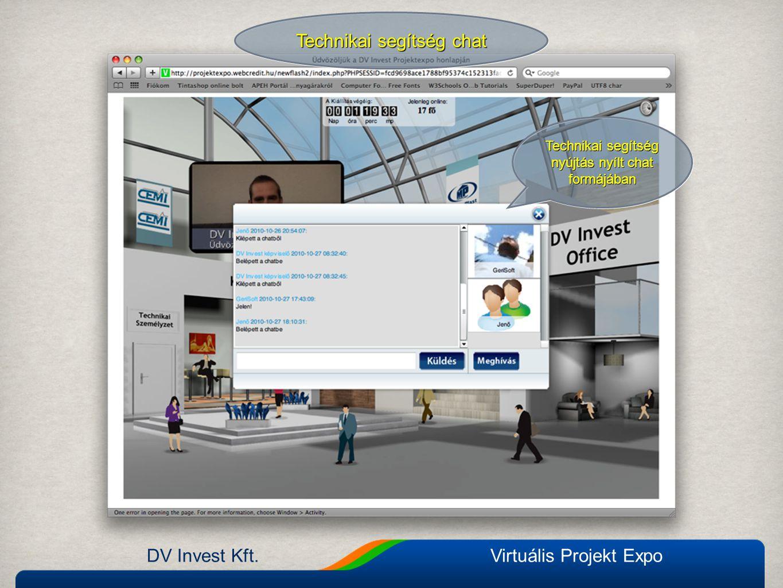 DV Invest Kft.Virtuális Projekt Expo Technikai segítség chat Technikai segítség nyújtás nyílt chat formájában Technikai segítség nyújtás nyílt chat fo