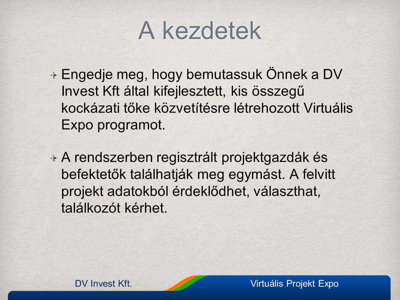 A kezdetek Engedje meg, hogy bemutassuk Önnek a DV Invest Kft által kifejlesztett, kis összegű kockázati tőke közvetítésre létrehozott Virtuális Expo programot.