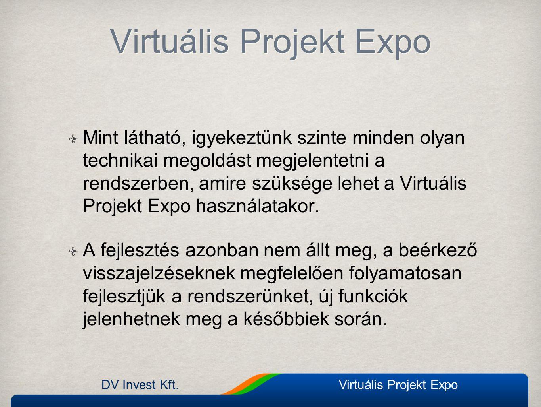 Virtuális Projekt Expo Mint látható, igyekeztünk szinte minden olyan technikai megoldást megjelentetni a rendszerben, amire szüksége lehet a Virtuális