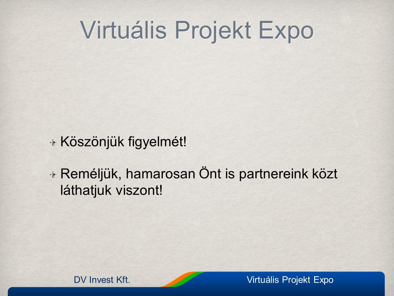 Virtuális Projekt Expo Köszönjük figyelmét! Reméljük, hamarosan Önt is partnereink közt láthatjuk viszont! DV Invest Kft.Virtuális Projekt Expo