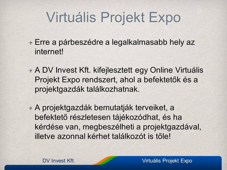 Erre a párbeszédre a legalkalmasabb hely az internet! A DV Invest Kft. kifejlesztett egy Online Virtuális Projekt Expo rendszert, ahol a befektetők és