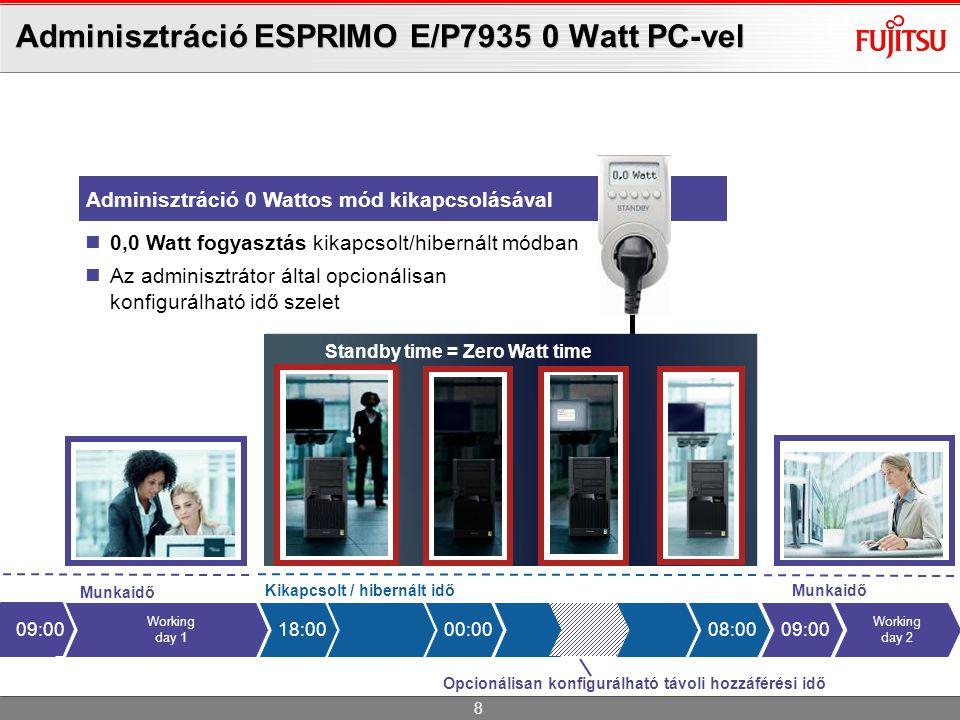 8 Adminisztráció 0 Wattos mód kikapcsolásával  0,0 Watt fogyasztás kikapcsolt/hibernált módban  Az adminisztrátor által opcionálisan konfigurálható