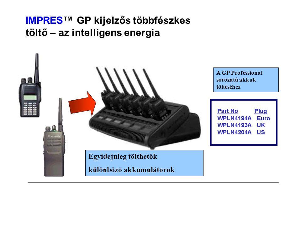 IMPRES™ GP kijelzős többfészkes töltő – az intelligens energia Egyidejűleg tölthetők különböző akkumulátorok A GP Professional sorozatú akkuk töltéséhez