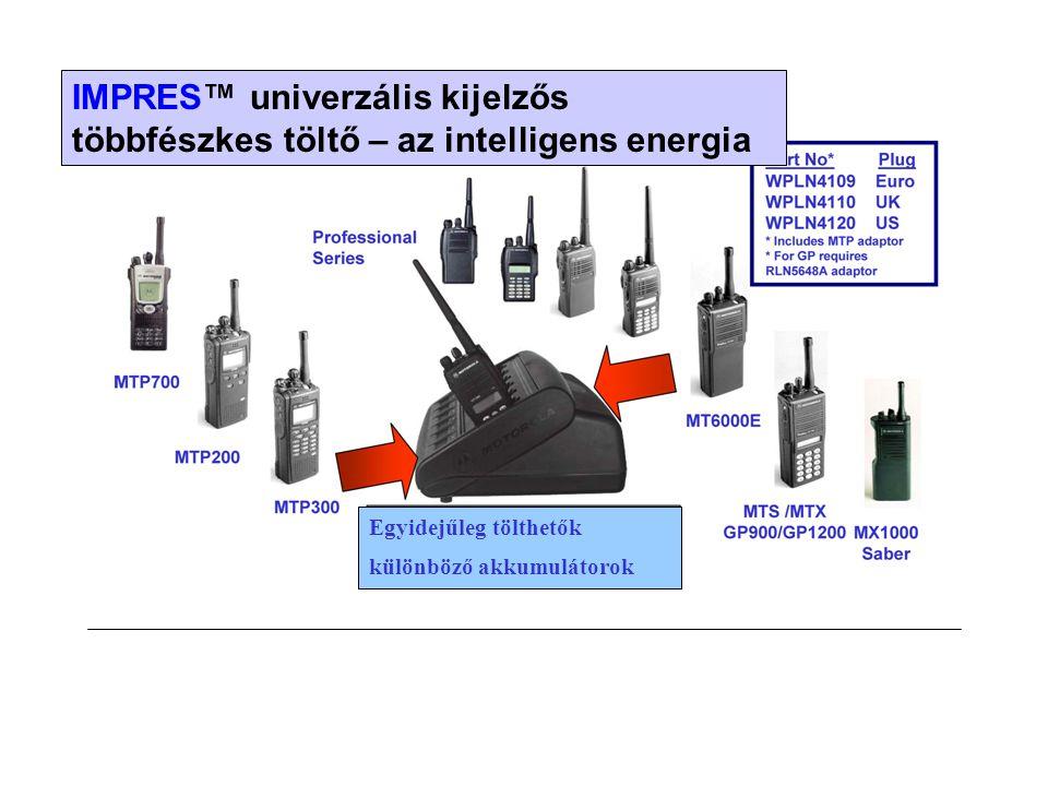 IMPRES™ univerzális kijelzős többfészkes töltő – az intelligens energia Egyidejűleg tölthetők különböző akkumulátorok