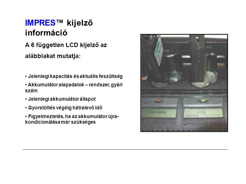 IMPRES™ kijelző információ A 6 független LCD kijelző az alábbiakat mutatja: • Jelenlegi kapacitás és aktuális feszültség • Akkumulátor alapadatok – rendszer, gyári szám • Jelenlegi akkumulátor állapot • Gyorstöltés végéig hátralevő idő • Figyelmeztetés, ha az akkumulátor újra- kondicionálása már szúkséges