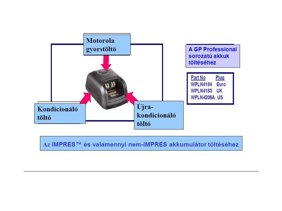 Motorola gyorstöltő Kondicionáló töltő Újra- kondicionáló töltő Az IMPRES™ és valamennyi nem-IMPRES akkumulátor töltéséhez A GP Professional sorozatú akkuk töltéséhez