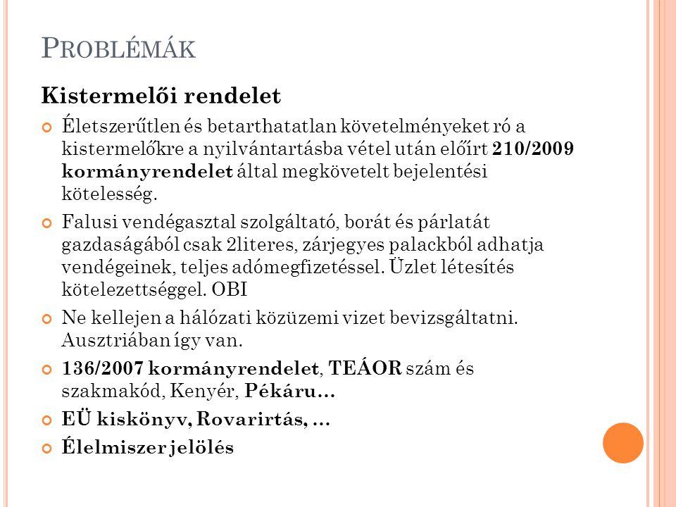 P ROBLÉMÁK Kistermelői rendelet Életszerűtlen és betarthatatlan követelményeket ró a kistermelőkre a nyilvántartásba vétel után előírt 210/2009 kormán
