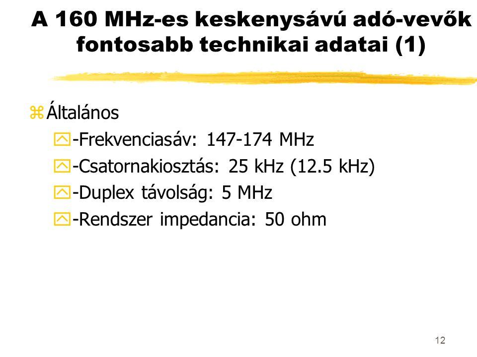 12 A 160 MHz-es keskenysávú adó-vevők fontosabb technikai adatai (1) zÁltalános y-Frekvenciasáv: 147-174 MHz y-Csatornakiosztás: 25 kHz (12.5 kHz) y-Duplex távolság: 5 MHz y-Rendszer impedancia: 50 ohm