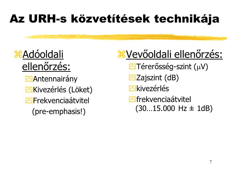 7 Az URH-s közvetítések technikája zAdóoldali ellenőrzés: yAntennairány yKivezérlés (Löket) yFrekvenciaátvitel (pre-emphasis!) z Vevőoldali ellenőrzés:  Térerősség-szint (  V) yZajszint (dB) ykivezérlés yfrekvenciaátvitel (30…15.000 Hz ± 1dB)