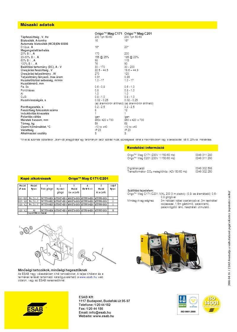 Rendelési információ Műszaki adatok Origo™ Mag C171Origo™ Mag C201 Tápfeszültség, V, Hz230 1ph 50/60230 1ph 50/60 Biztosíték, A-lomha1616* Automata biztosíték (MCB)EN 60898 D típus, A16*20* Megengedett terhelés 20% B.I., A170200 23-30% B.I., A155 @ 25%185 @ 23% 60% B.I., A98115 100% B.I., A7690 Beállítási tartomány (DC), A - V30 - 17030 - 200 Üresjárási feszültség, V22,5 - 44,519,6 – 44,9 Üresjárási teljesítmény, W270120 Teljesítmény tényező, max.áram0,910,89 Huzalelőtolási sebesség, m/min1,0 - 171,0 - 17 Huzalátmérő, mm Fe, Ss0,6 - 0,80,6 - 1,0 Portöltéses0,80,8 - 1,0 Al1,01,0 CuSi 0,8 - 1,00,8 - 1,0 Huzalvisszaégés, s0,02 - 0,250,02 - 0,25 (az áramkörön állítható)(az áramkörön állítható) Ponthegesztés, s0,2 - 2,50,2 - 2,5 Feszültség fokozatok száma812 Induktivitás kivezetés11 Polaritás váltásigenigen Méretek hxszxm, mm860x 420 x 730860 x 420 x 730 Tömeg, kg5968 Üzemi hőmérséklet, °C-10 to +40-10 to +40 VédettségIP 23IP 23 Alkalmazási osztálySS Origo™ Mag C171 (230V 1 f 50/60 Hz)0349 311 280 Origo™ Mag C201 (230V 1 f 50/60 Hz)0349 311 290 Digitáliskijelző0349 302 598 Transzformátor CO 2 melegítőhöz (42V 50/60 Hz)0349 302 250 Minőségi tartozékok, minőségi hegesztőknek Az ESAB nagy választékban kínál tartozékokat.
