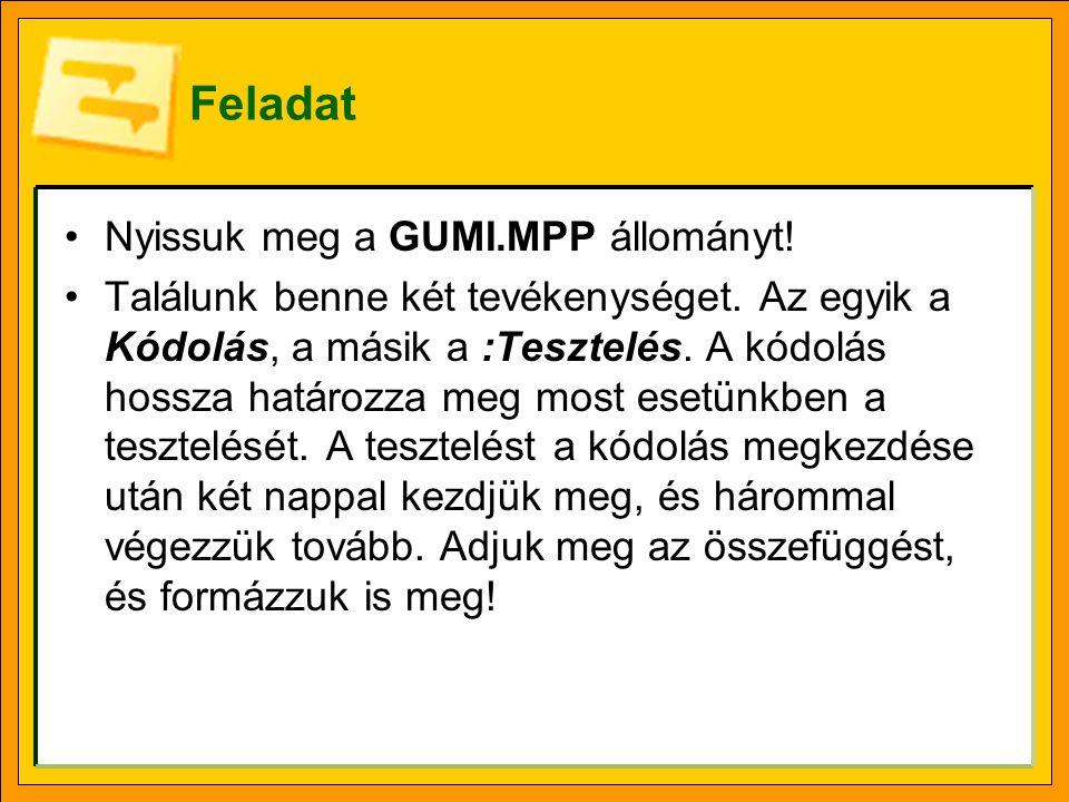 Feladat •Nyissuk meg a GUMI.MPP állományt! •Találunk benne két tevékenységet. Az egyik a Kódolás, a másik a :Tesztelés. A kódolás hossza határozza meg