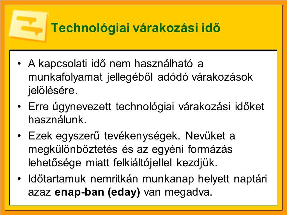 Technológiai várakozási idő (folytatás) •Minden olyan esetben technológiai várakozási időt kell felvenni a projekttervbe, amikor olyan folyamat végét kell kivárni, mely az adott technológiát figyelembe véve általunk nem meggyorsítható.