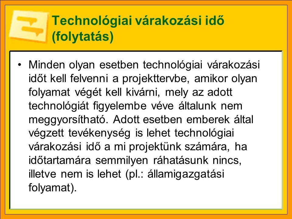 Technológiai várakozási idő (folytatás) •Minden olyan esetben technológiai várakozási időt kell felvenni a projekttervbe, amikor olyan folyamat végét