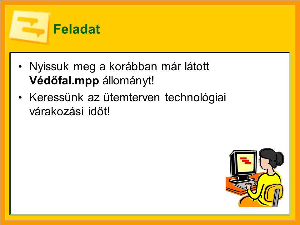 Feladat •Nyissuk meg a Technológiai.mpp állományt.