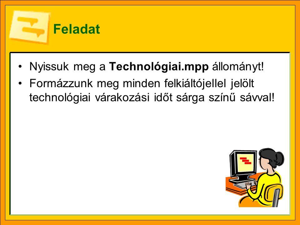 Feladat •Nyissuk meg a Technológiai.mpp állományt! •Formázzunk meg minden felkiáltójellel jelölt technológiai várakozási időt sárga színű sávval!