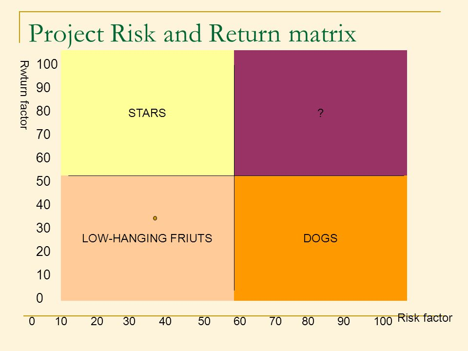 Project Risk and Return matrix 0 10 20 30 40 50 60 70 80 90 100 Risk factor 100 90 80 70 60 50 40 30 20 10 0 STARS LOW-HANGING FRIUTSDOGS ? Rwturn fac