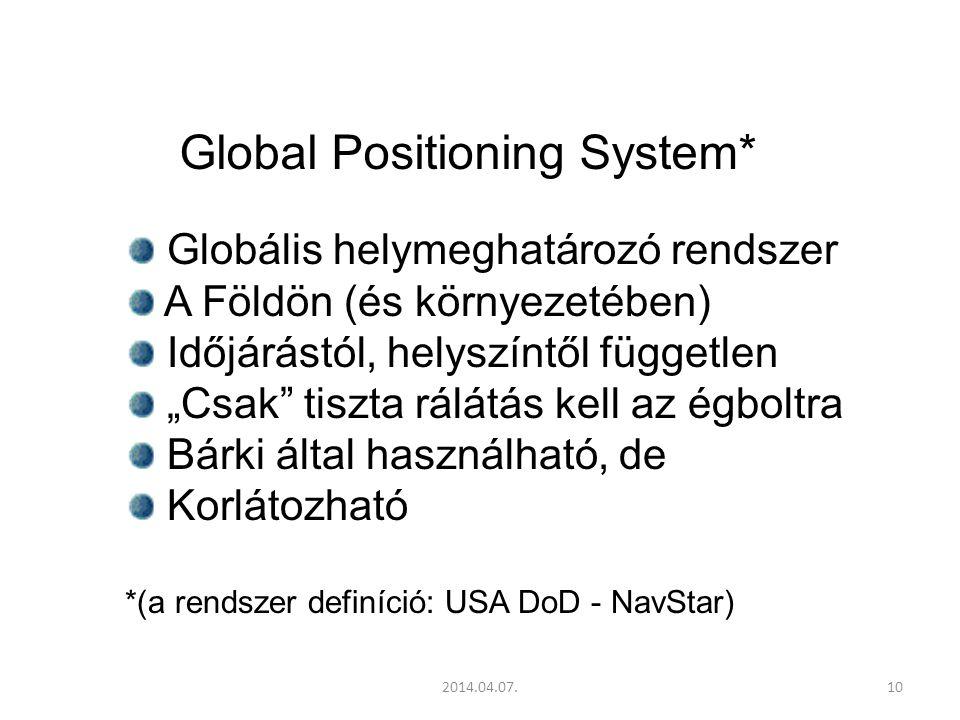 """2014.04.07.10 Global Positioning System* Globális helymeghatározó rendszer A Földön (és környezetében) Időjárástól, helyszíntől független """"Csak tiszta rálátás kell az égboltra Bárki által használható, de Korlátozható *(a rendszer definíció: USA DoD - NavStar)"""
