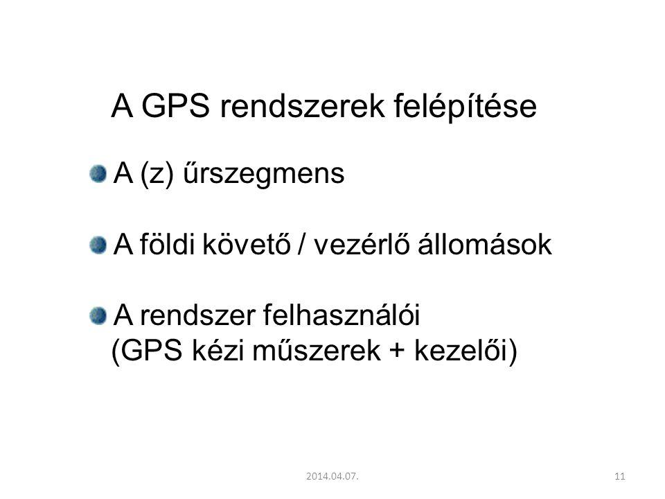 2014.04.07.11 A GPS rendszerek felépítése A (z) űrszegmens A földi követő / vezérlő állomások A rendszer felhasználói (GPS kézi műszerek + kezelői)