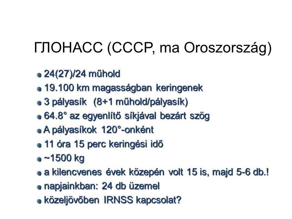 ГЛОНАСС (CCCP, ma Oroszország) 24(27)/24 műhold 24(27)/24 műhold 19.100 km magasságban keringenek 19.100 km magasságban keringenek 3 pályasík (8+1 műhold/pályasík) 3 pályasík (8+1 műhold/pályasík) 64.8° az egyenlítő síkjával bezárt szög 64.8° az egyenlítő síkjával bezárt szög A pályasíkok 120°-onként A pályasíkok 120°-onként 11 óra 15 perc keringési idő 11 óra 15 perc keringési idő ~1500 kg ~1500 kg a kilencvenes évek közepén volt 15 is, majd 5-6 db..