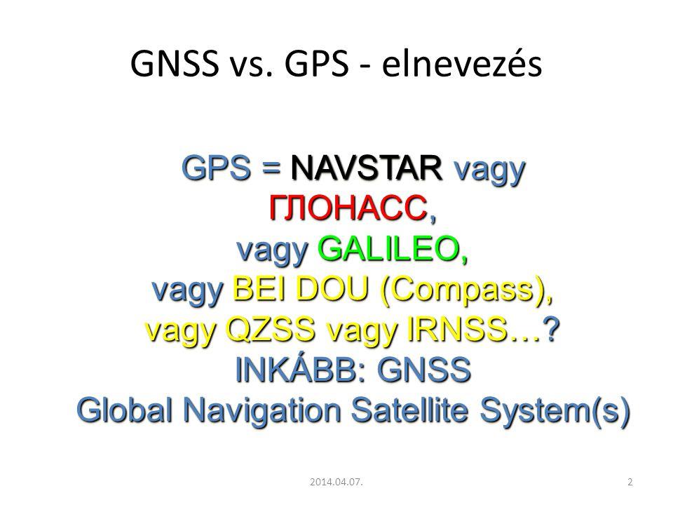 2014.04.07.23 Galileo (Európai Únió – civil üzem.) 30 műhold / 3 pályasík (9+1 műhold/pályasík) 30 műhold / 3 pályasík (9+1 műhold/pályasík) 2005-ben pályára állnak az elsők GIOVE A(+B) 2005-ben pályára állnak az elsők GIOVE A(+B) 23 616 km, 56° p.