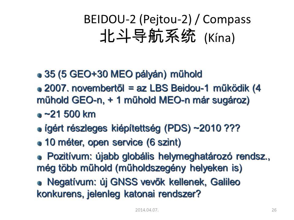 2014.04.07.26 BEIDOU-2 (Pejtou-2) / Compass 北斗导航系统 (Kína) 35 (5 GEO+30 MEO pályán) műhold 35 (5 GEO+30 MEO pályán) műhold 2007.