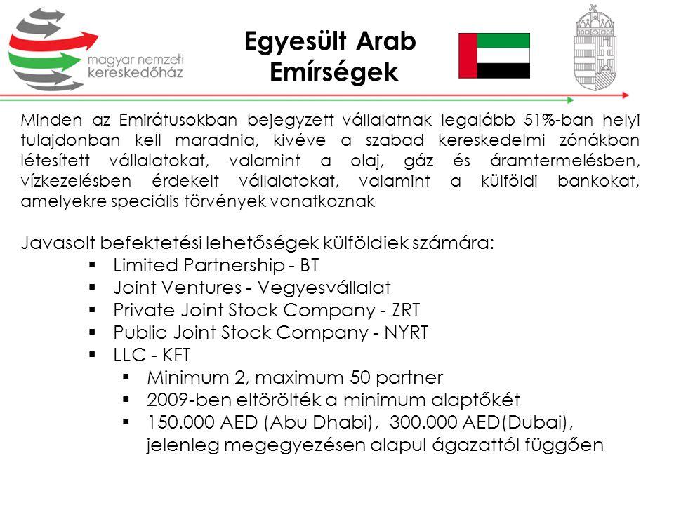 Minden az Emirátusokban bejegyzett vállalatnak legalább 51%-ban helyi tulajdonban kell maradnia, kivéve a szabad kereskedelmi zónákban létesített váll
