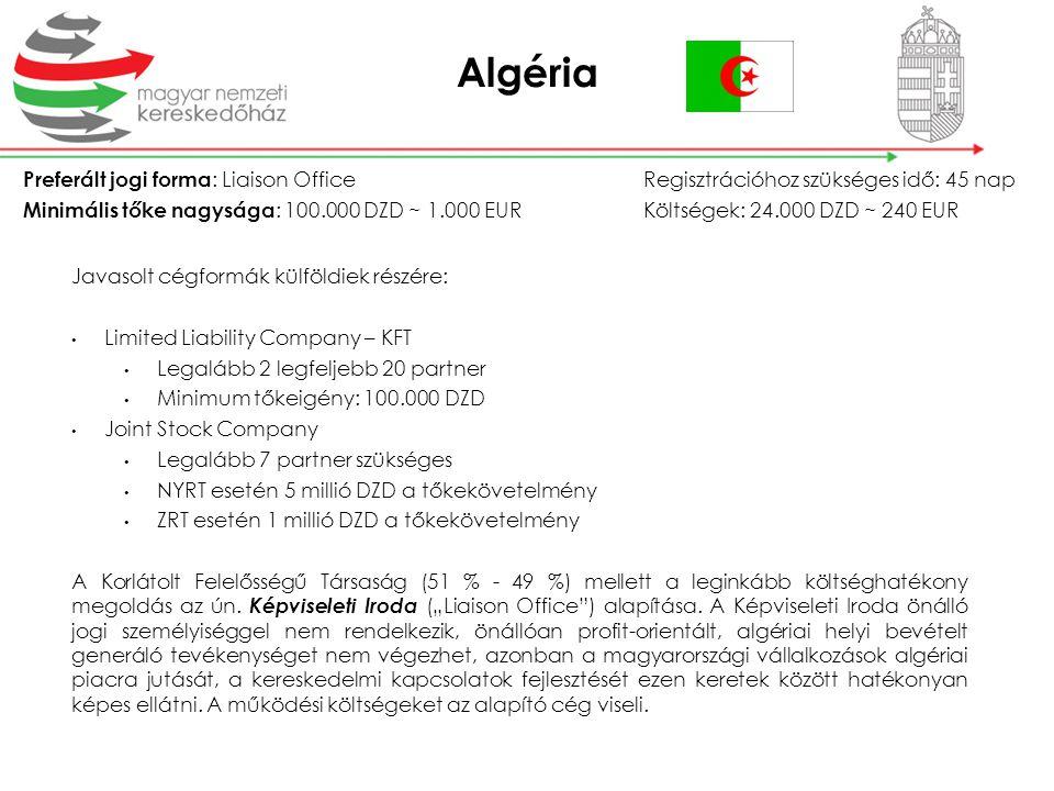 Algéria Preferált jogi forma : Liaison OfficeRegisztrációhoz szükséges idő: 45 nap Minimális tőke nagysága : 100.000 DZD ~ 1.000 EURKöltségek: 24.000