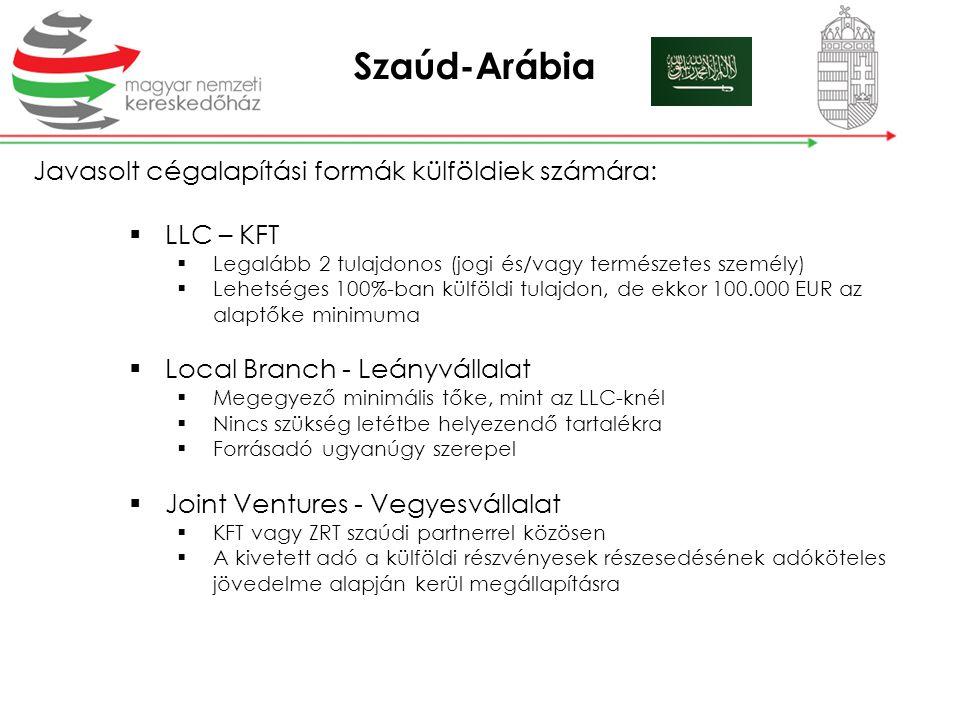 Szaúd-Arábia Javasolt cégalapítási formák külföldiek számára:  LLC – KFT  Legalább 2 tulajdonos (jogi és/vagy természetes személy)  Lehetséges 100%