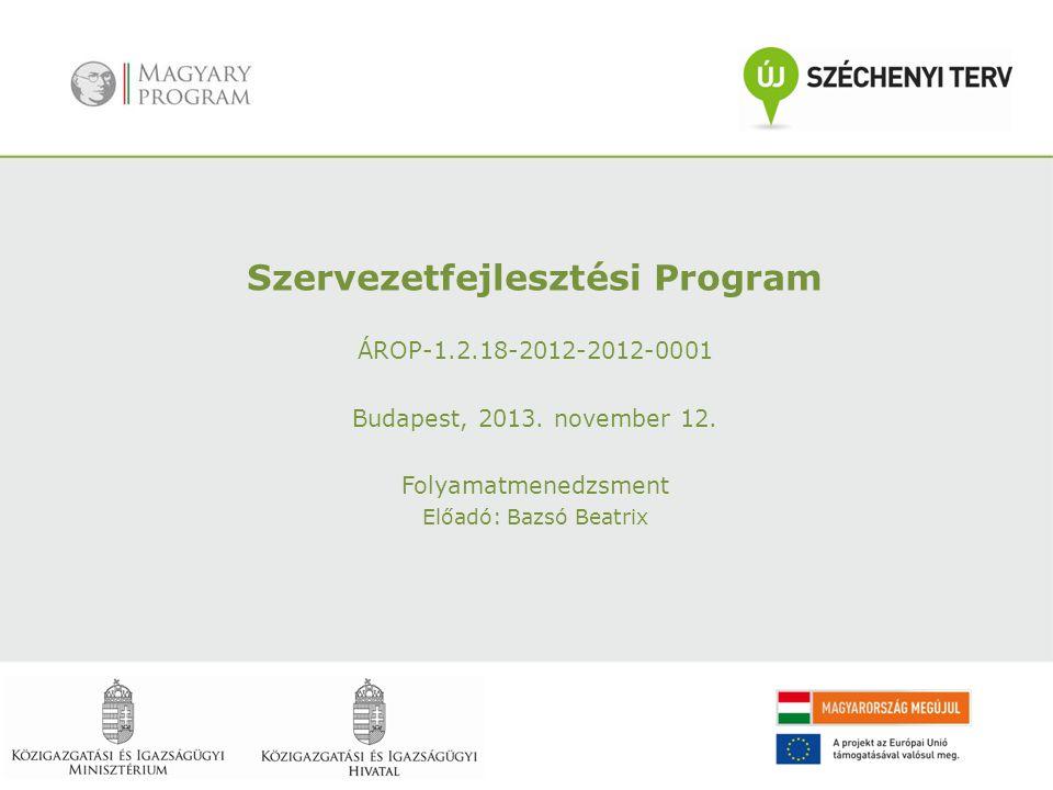 Szervezetfejlesztési Program ÁROP-1.2.18-2012-2012-0001 Budapest, 2013. november 12. Folyamatmenedzsment Előadó: Bazsó Beatrix