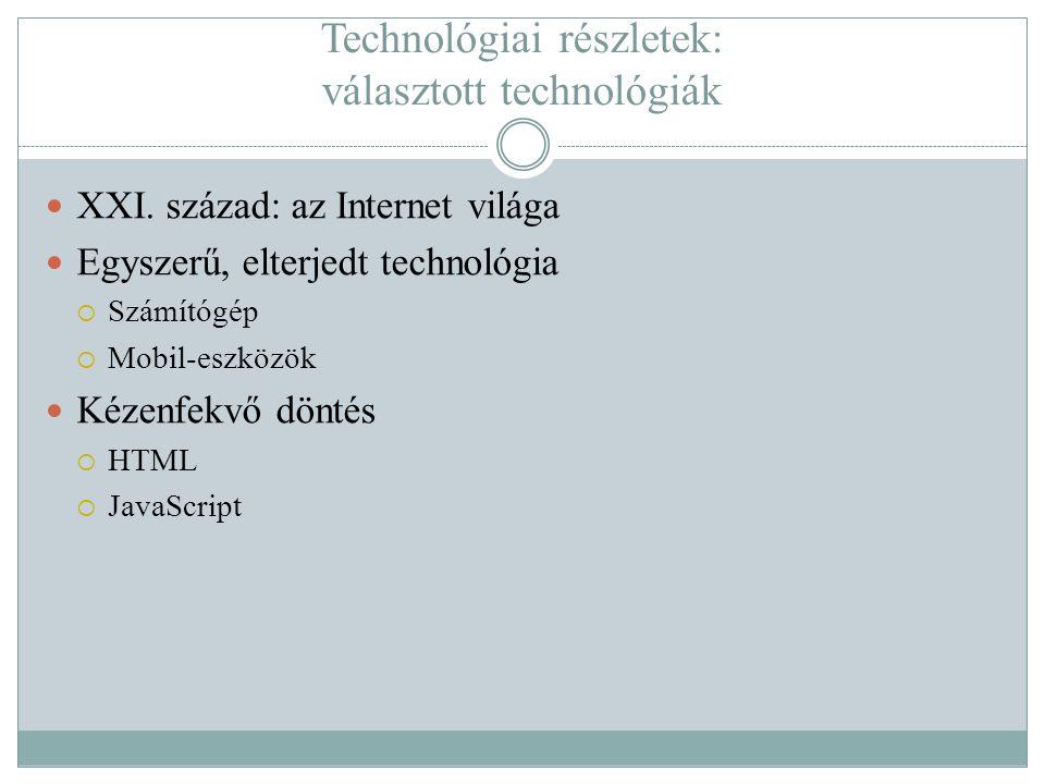 Technológiai részletek: választott technológiák  XXI.