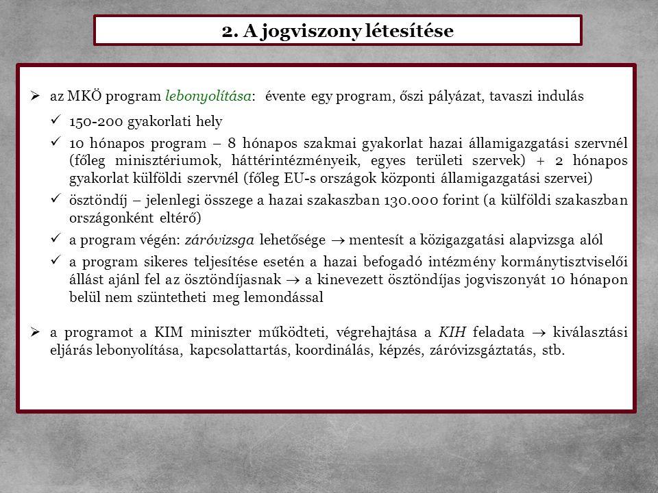 2. A jogviszony létesítése  az MKÖ program lebonyolítása: évente egy program, őszi pályázat, tavaszi indulás  150-200 gyakorlati hely  10 hónapos p