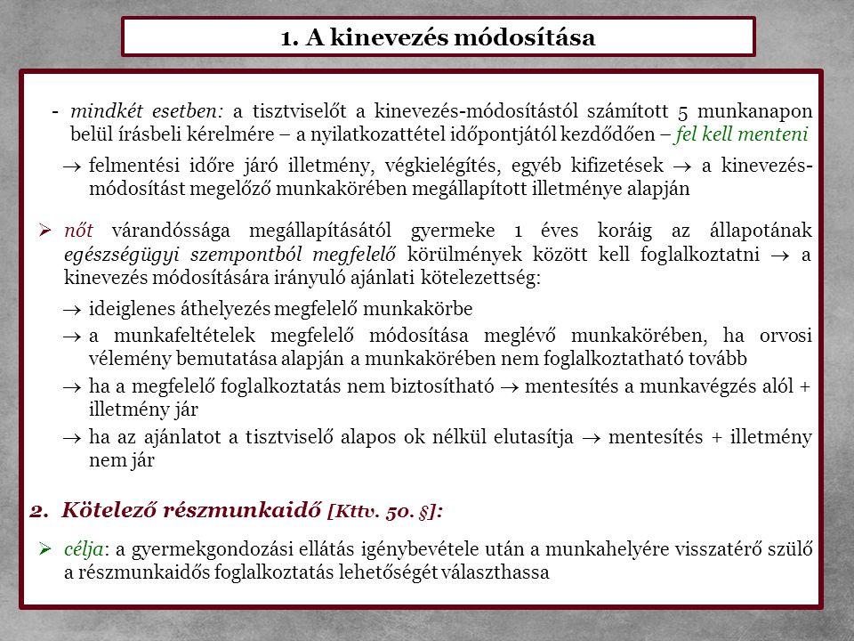 1. A kinevezés módosítása -mindkét esetben: a tisztviselőt a kinevezés-módosítástól számított 5 munkanapon belül írásbeli kérelmére – a nyilatkozattét