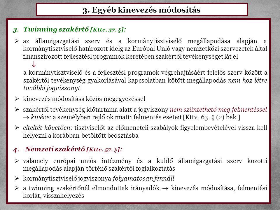 3. Egyéb kinevezés módosítás 3.Twinning szakértő [Kttv. 57. §] :  az államigazgatási szerv és a kormánytisztviselő megállapodása alapján a kormánytis